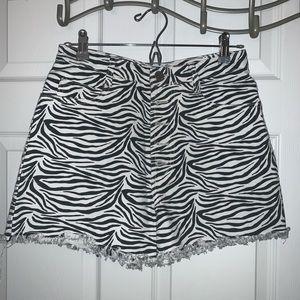 Zebra, high waisted, no zip, shorts NEVER WORN